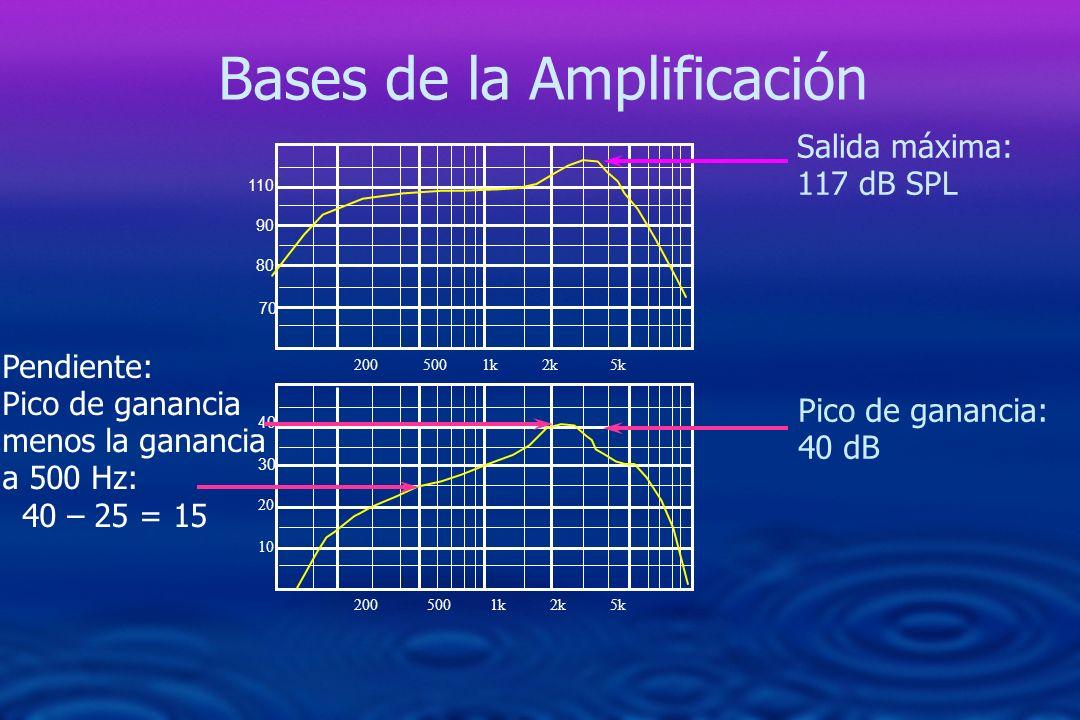 200 500 1k 2k 5k 40 30 20 10 200 500 1k 2k 5k Salida máxima: 117 dB SPL Pico de ganancia: 40 dB Pendiente: Pico de ganancia menos la ganancia a 500 Hz