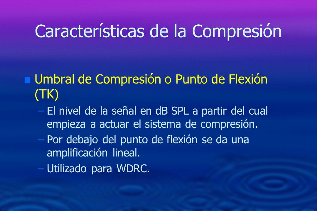 Características de la Compresión n n Umbral de Compresión o Punto de Flexión (TK) – –El nivel de la señal en dB SPL a partir del cual empieza a actuar