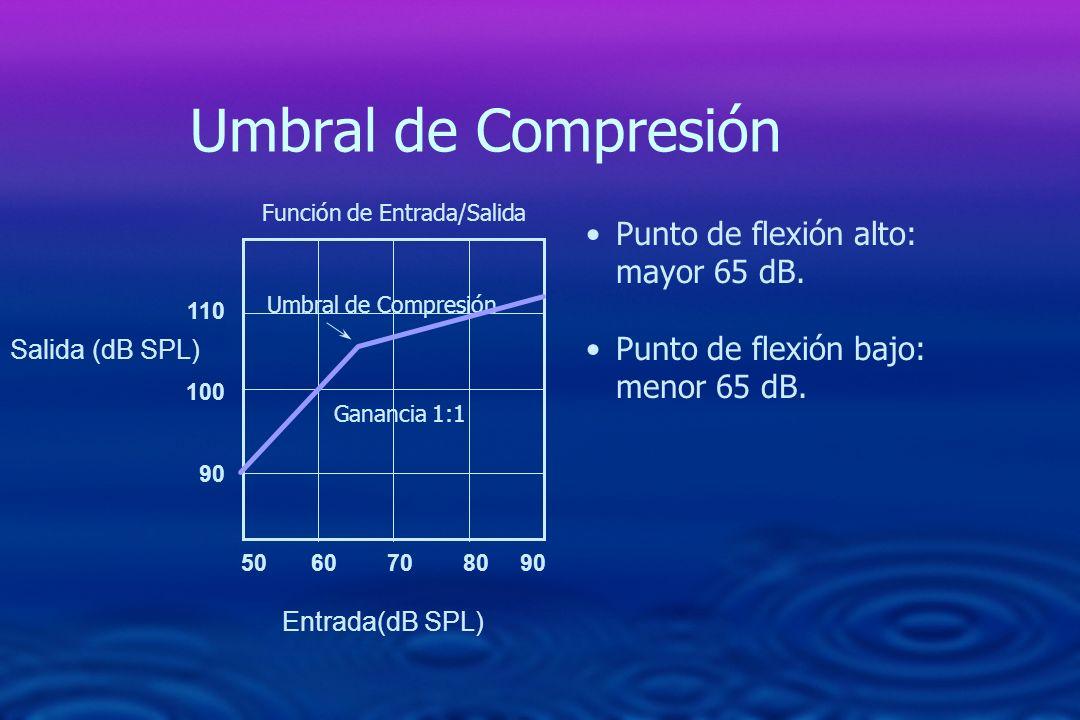 Umbral de Compresión Punto de flexión alto: mayor 65 dB. Punto de flexión bajo: menor 65 dB. 50 60 70 80 90 110 100 90 Función de Entrada/Salida Ganan