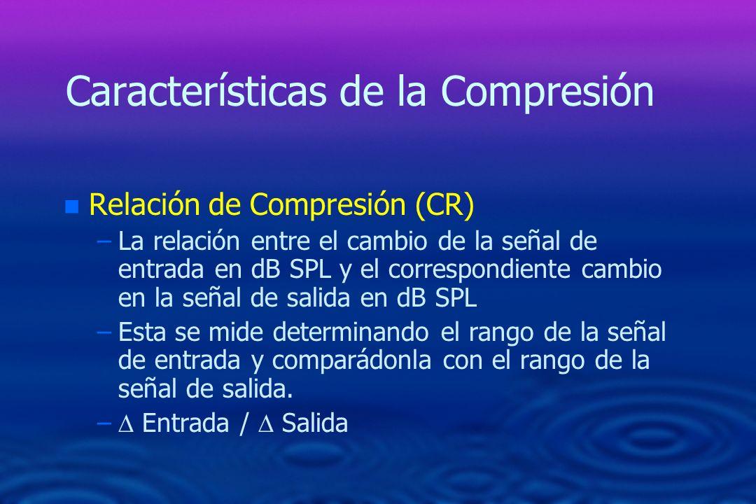 Características de la Compresión n n Relación de Compresión (CR) – –La relación entre el cambio de la señal de entrada en dB SPL y el correspondiente