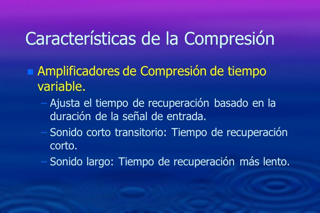 Características de la Compresión n n Amplificadores de Compresión de tiempo variable. – –Ajusta el tiempo de recuperación basado en la duración de la