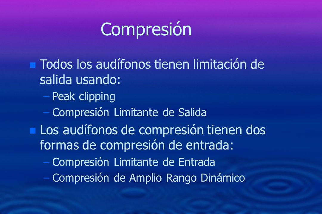 Compresión n Todos los audífonos tienen limitación de salida usando: –Peak clipping –Compresión Limitante de Salida n Los audífonos de compresión tien
