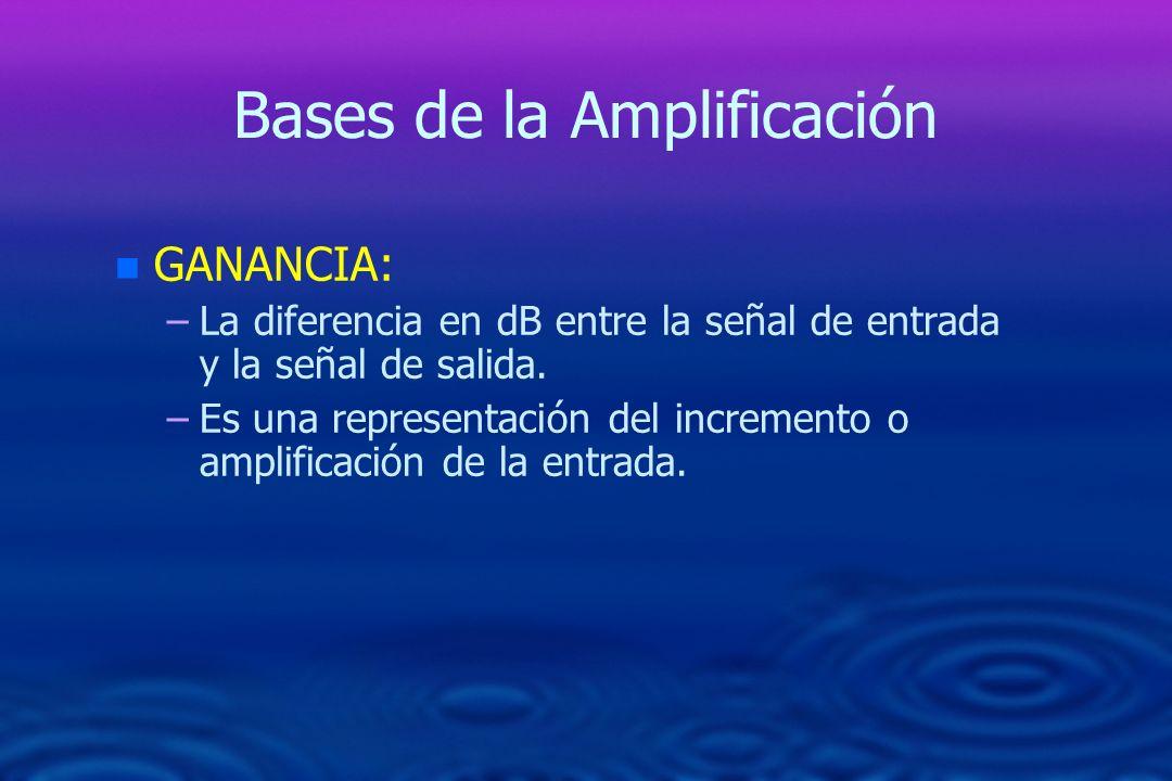Bases de la Amplificación n n GANANCIA: – –La diferencia en dB entre la señal de entrada y la señal de salida. – –Es una representación del incremento
