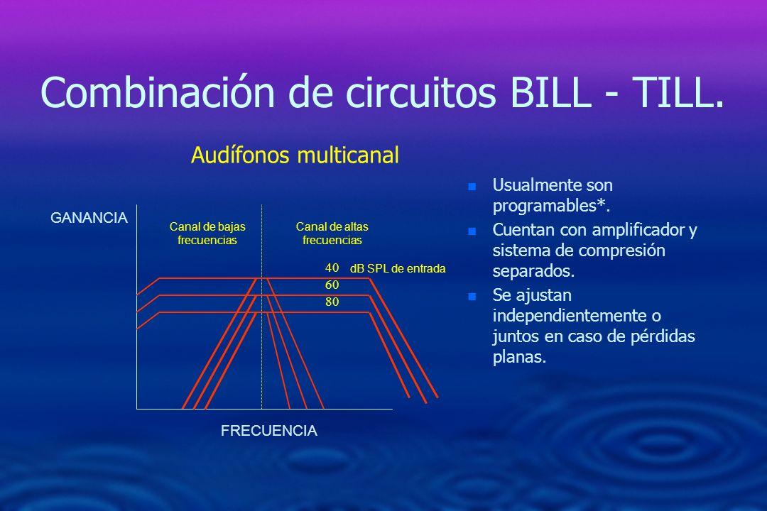 Combinación de circuitos BILL - TILL. n n Usualmente son programables*. n n Cuentan con amplificador y sistema de compresión separados. n n Se ajustan