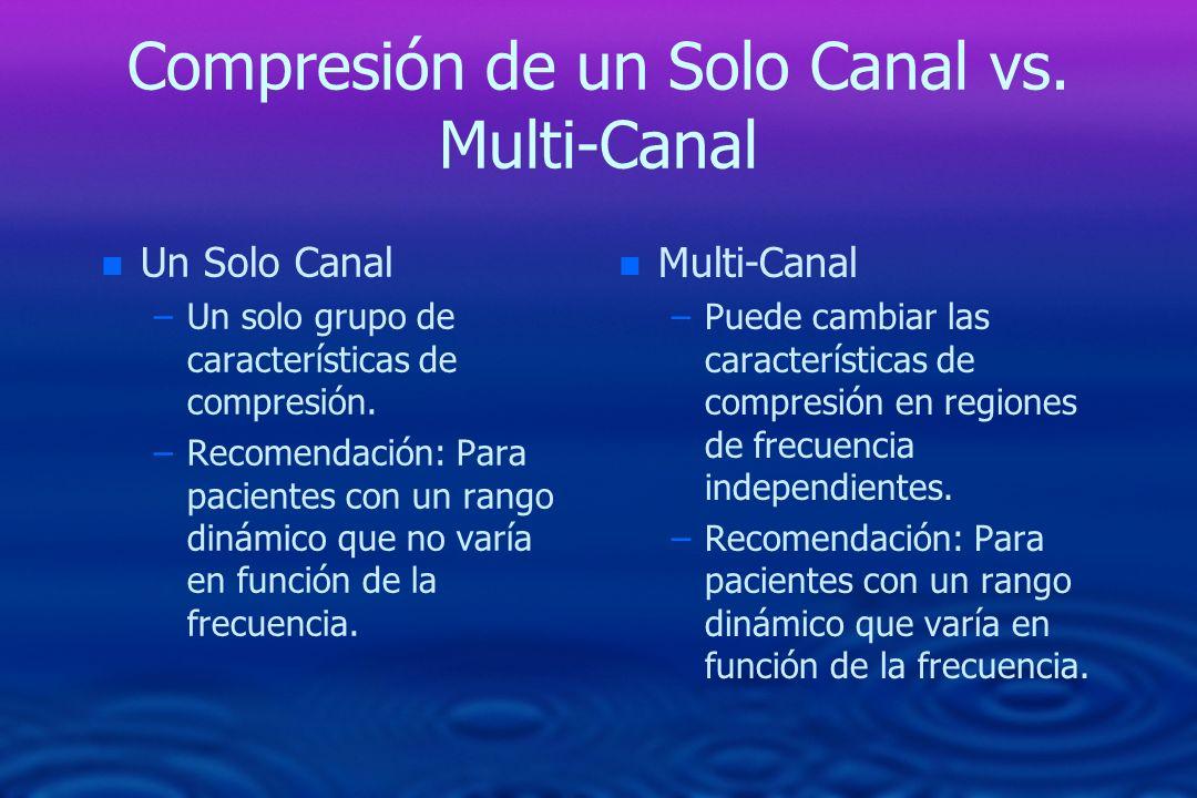 Compresión de un Solo Canal vs. Multi-Canal n n Un Solo Canal – –Un solo grupo de características de compresión. – –Recomendación: Para pacientes con