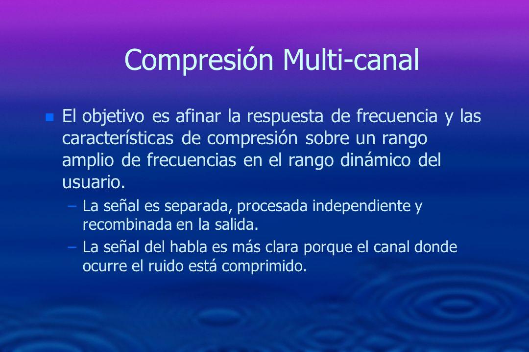 Compresión Multi-canal n n El objetivo es afinar la respuesta de frecuencia y las características de compresión sobre un rango amplio de frecuencias e