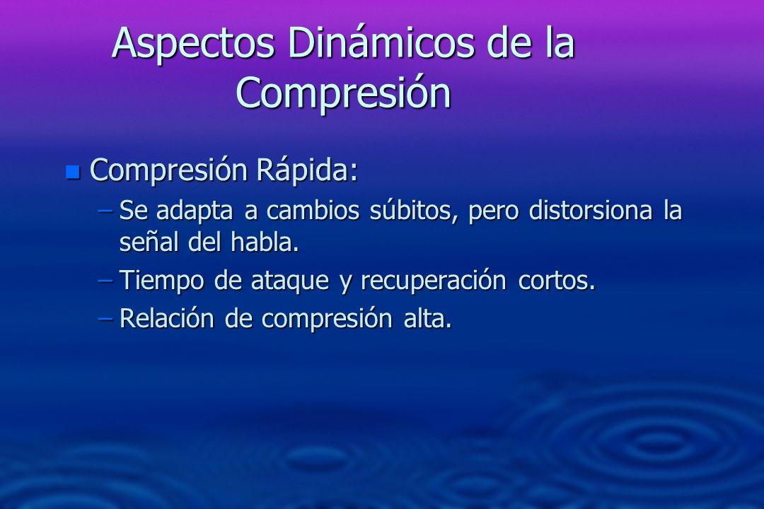 Aspectos Dinámicos de la Compresión n Compresión Rápida: –Se adapta a cambios súbitos, pero distorsiona la señal del habla. –Tiempo de ataque y recupe