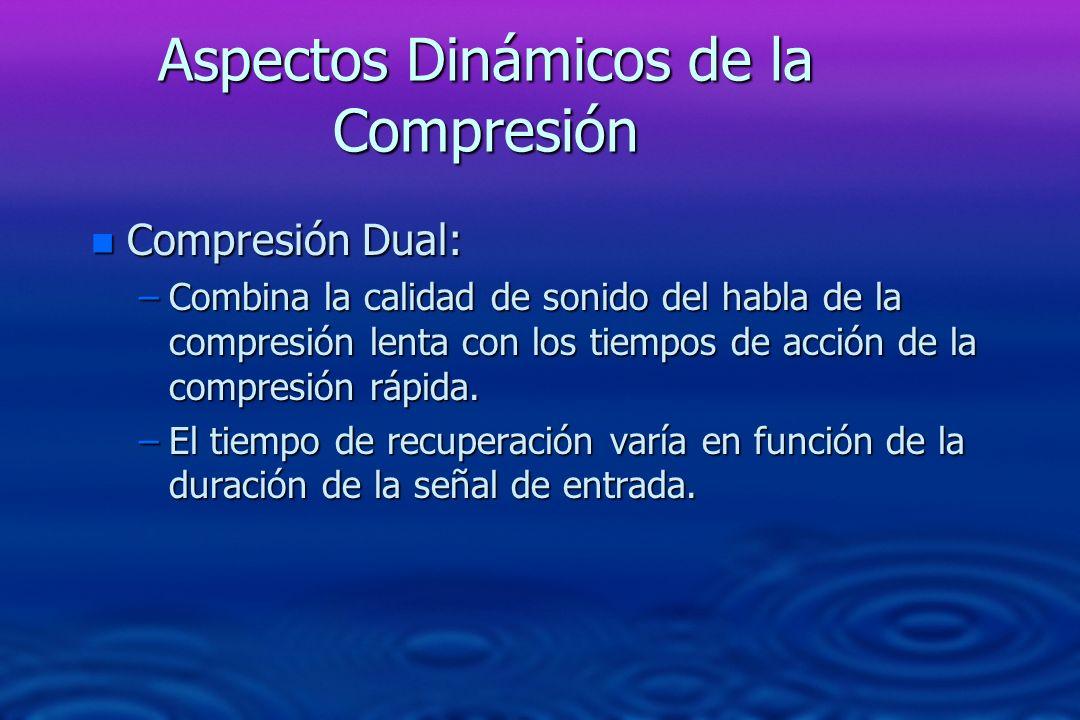 Aspectos Dinámicos de la Compresión n Compresión Dual: –Combina la calidad de sonido del habla de la compresión lenta con los tiempos de acción de la