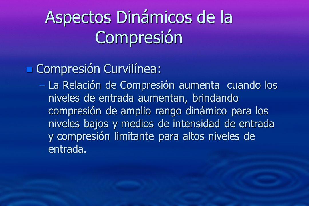 Aspectos Dinámicos de la Compresión n Compresión Curvilínea: –La Relación de Compresión aumenta cuando los niveles de entrada aumentan, brindando comp