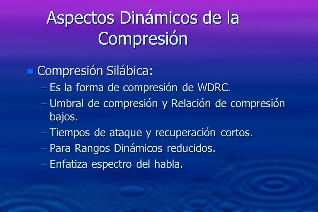 Aspectos Dinámicos de la Compresión n Compresión Silábica: –Es la forma de compresión de WDRC. –Umbral de compresión y Relación de compresión bajos. –