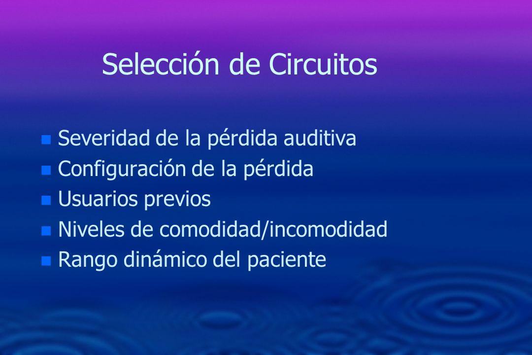 Selección de Circuitos n n Severidad de la pérdida auditiva n n Configuración de la pérdida n n Usuarios previos n n Niveles de comodidad/incomodidad