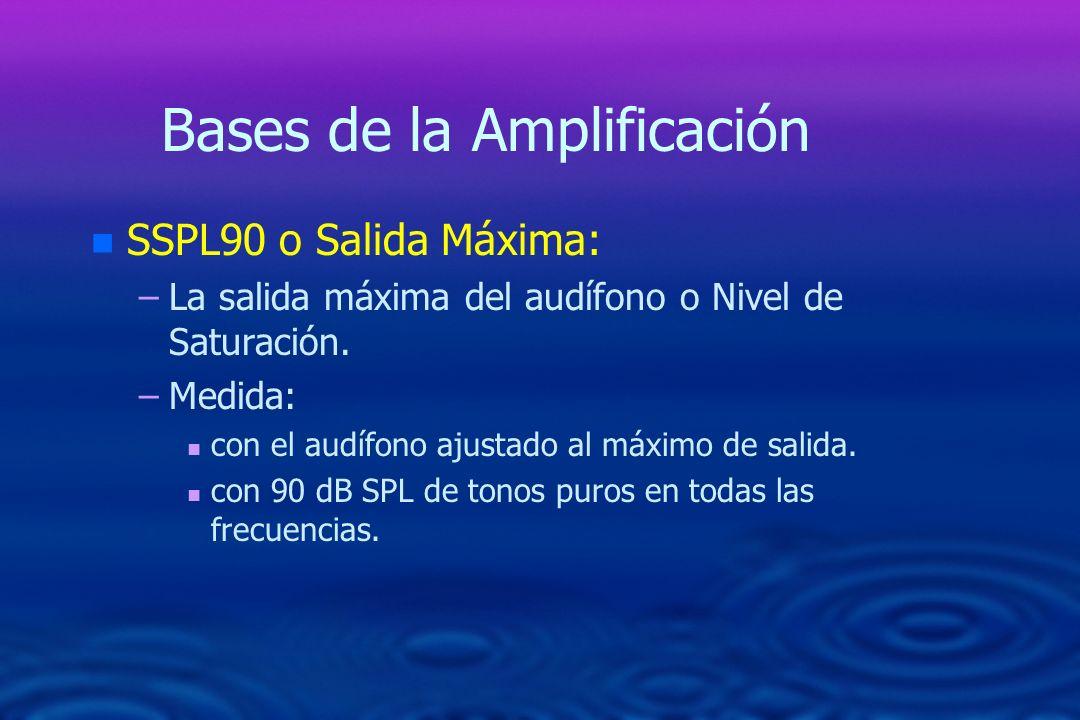 Bases de la Amplificación n n SSPL90 o Salida Máxima: – –La salida máxima del audífono o Nivel de Saturación. – –Medida: n n con el audífono ajustado