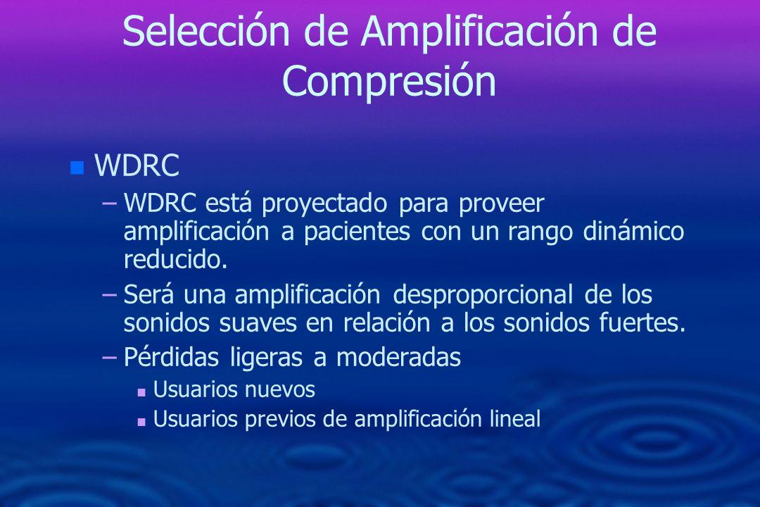 Selección de Amplificación de Compresión n n WDRC – –WDRC está proyectado para proveer amplificación a pacientes con un rango dinámico reducido. – –Se