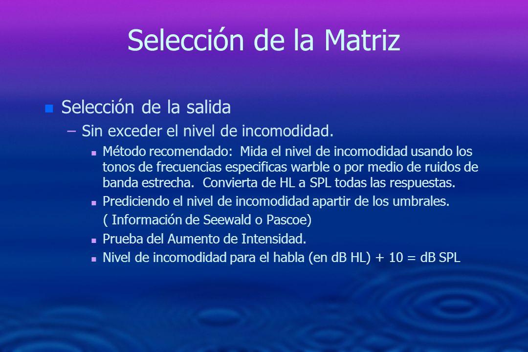 Selección de la Matriz n n Selección de la salida – –Sin exceder el nivel de incomodidad. n n Método recomendado: Mida el nivel de incomodidad usando
