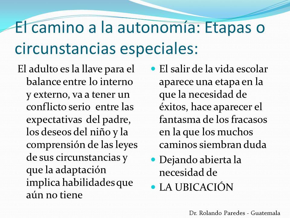 Dr. Rolando Paredes - Guatemala El camino a la autonomía: Etapas o circunstancias especiales: El adulto es la llave para el balance entre lo interno y