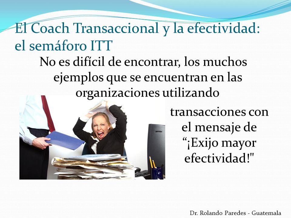 Dr. Rolando Paredes - Guatemala No es difícil de encontrar, los muchos ejemplos que se encuentran en las organizaciones utilizando El Coach Transaccio