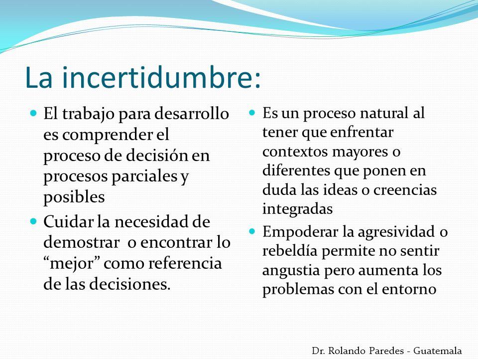 Dr. Rolando Paredes - Guatemala La incertidumbre: El trabajo para desarrollo es comprender el proceso de decisión en procesos parciales y posibles Cui