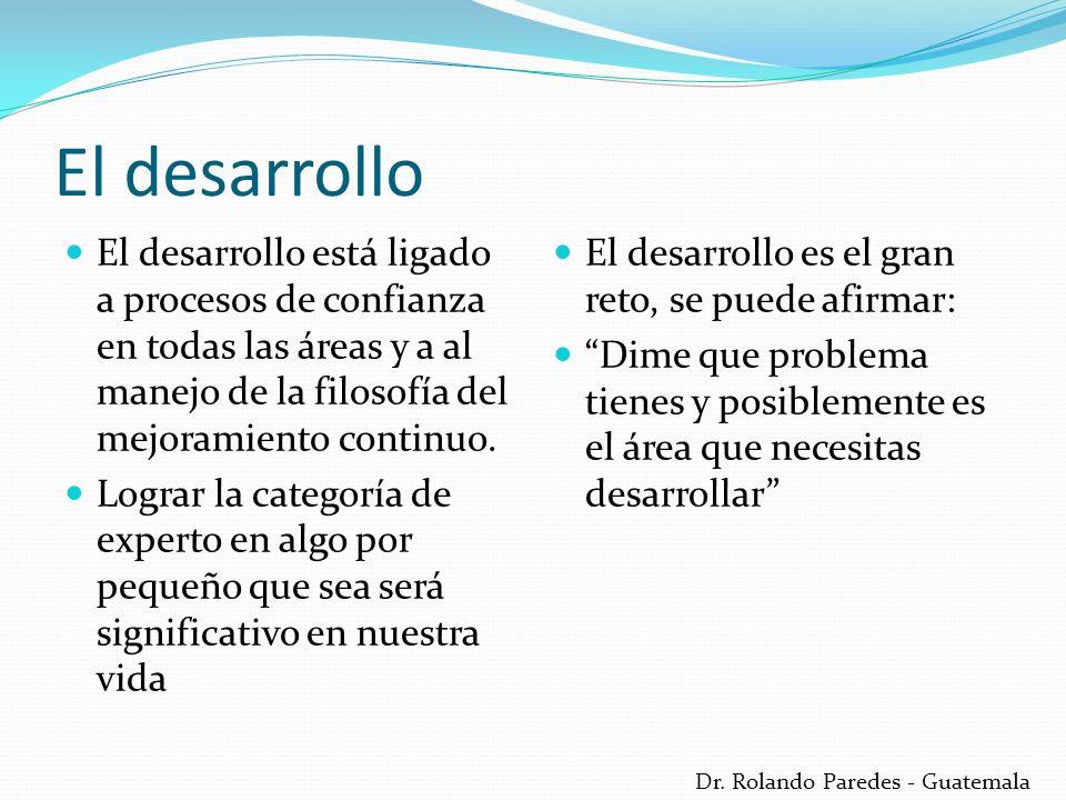 Dr. Rolando Paredes - Guatemala El desarrollo El desarrollo está ligado a procesos de confianza en todas las áreas y a al manejo de la filosofía del m