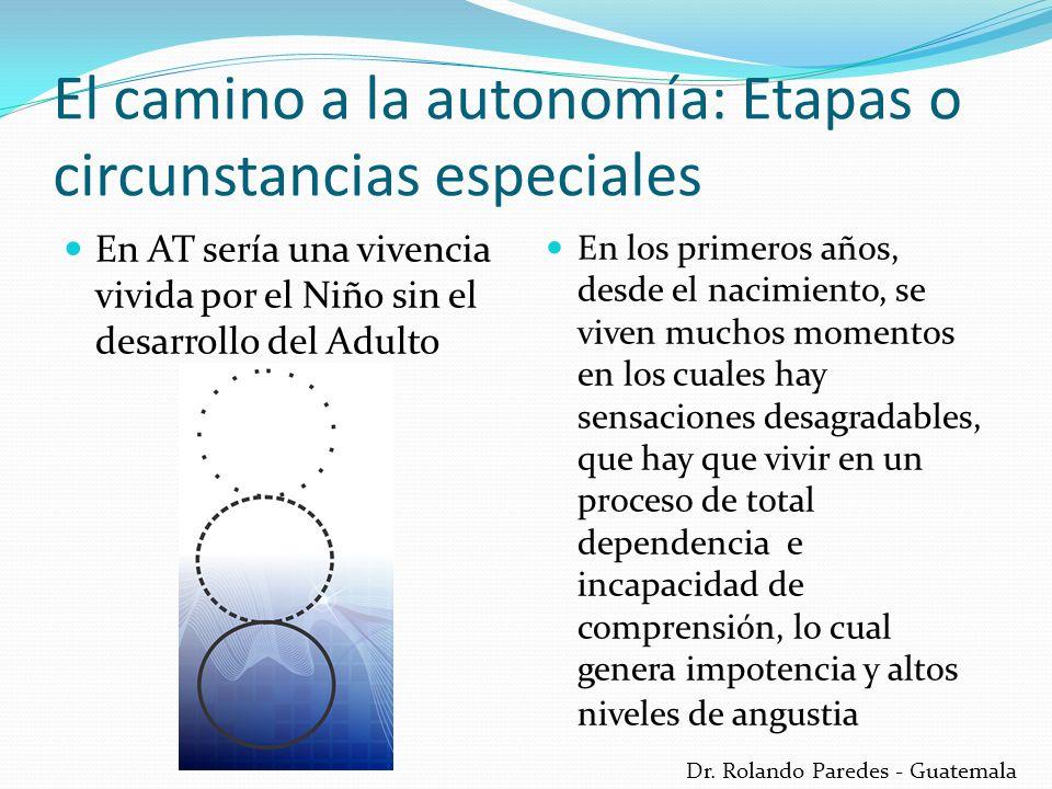 Dr. Rolando Paredes - Guatemala El camino a la autonomía: Etapas o circunstancias especiales En AT sería una vivencia vivida por el Niño sin el desarr