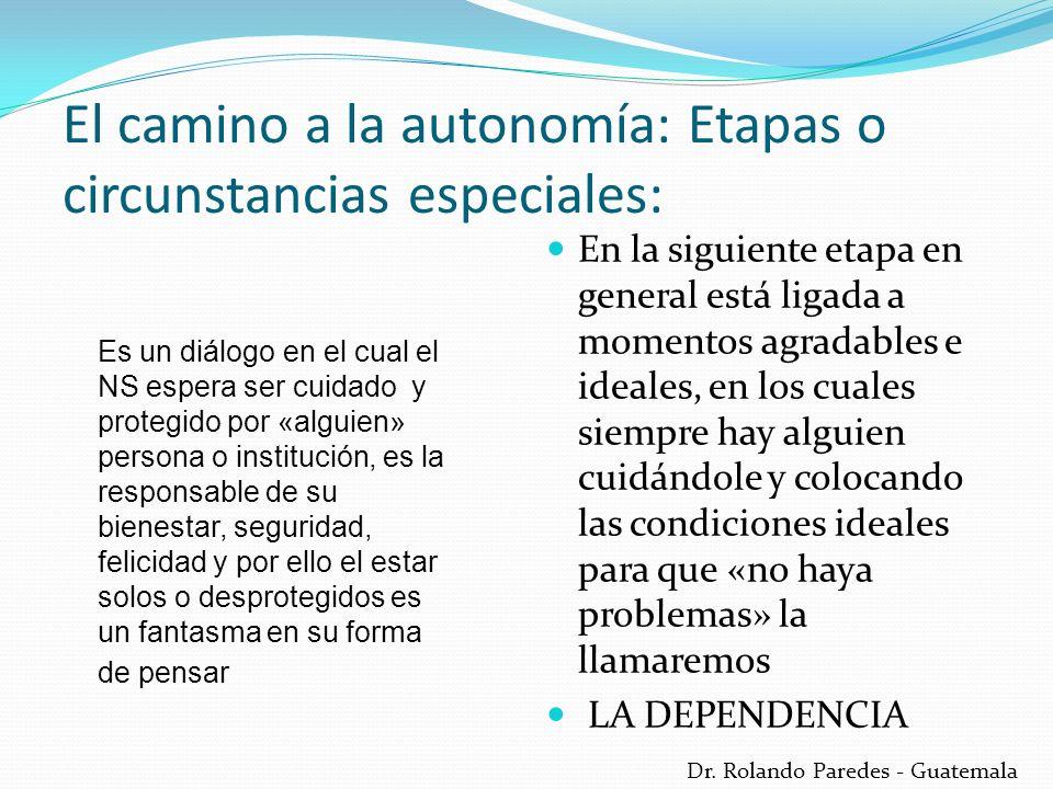 Dr. Rolando Paredes - Guatemala El camino a la autonomía: Etapas o circunstancias especiales: En la siguiente etapa en general está ligada a momentos