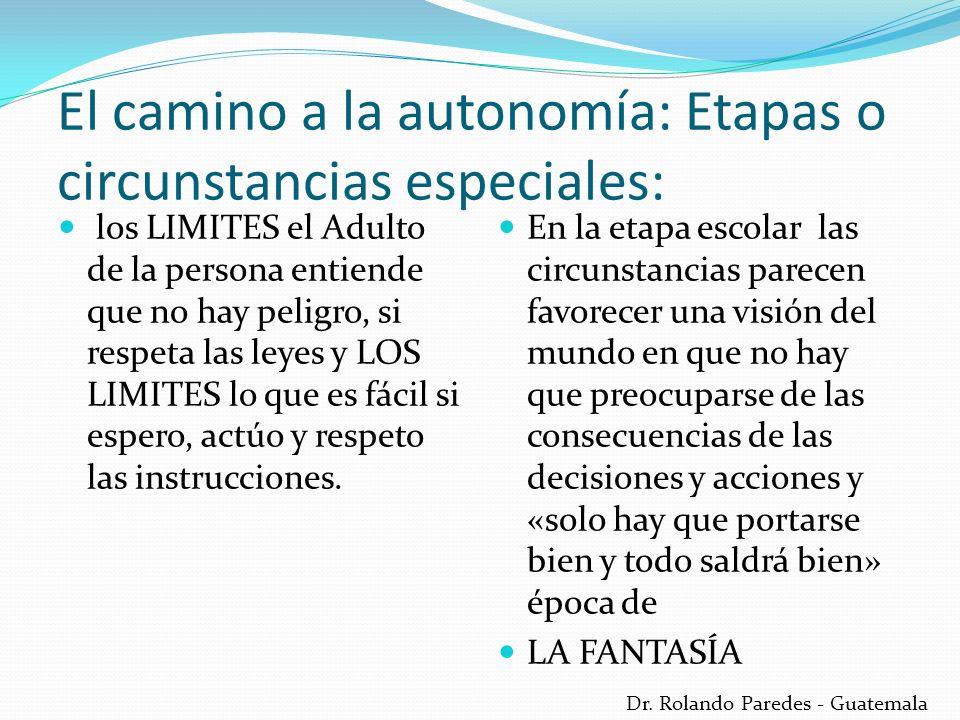 Dr. Rolando Paredes - Guatemala El camino a la autonomía: Etapas o circunstancias especiales: En la etapa escolar las circunstancias parecen favorecer
