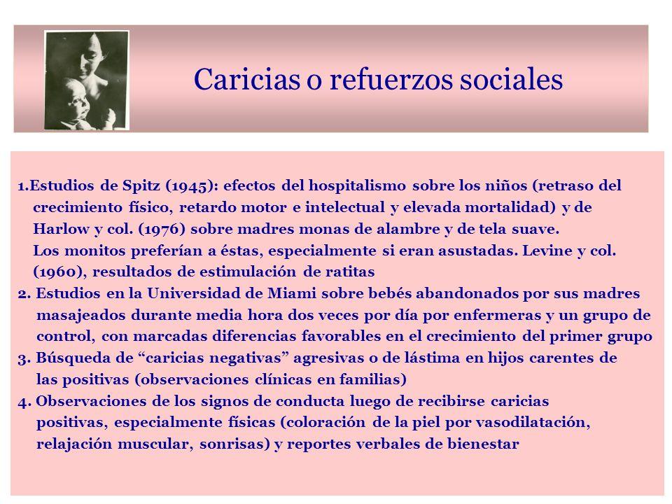 Caricias o refuerzos sociales 1.Estudios de Spitz (1945): efectos del hospitalismo sobre los niños (retraso del crecimiento físico, retardo motor e intelectual y elevada mortalidad) y de Harlow y col.