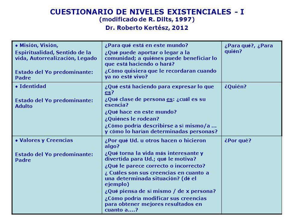 CUESTIONARIO DE NIVELES EXISTENCIALES - I (modificado de R. Dilts, 1997) Dr. Roberto Kertész, 2012 Misi ó n, Visi ó n, Espiritualidad, Sentido de la v
