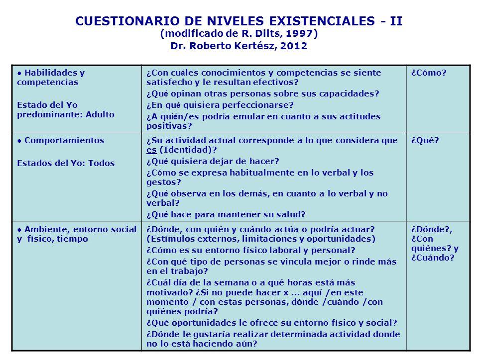 CUESTIONARIO DE NIVELES EXISTENCIALES - II (modificado de R. Dilts, 1997) Dr. Roberto Kertész, 2012 Habilidades y competencias Estado del Yo predomina