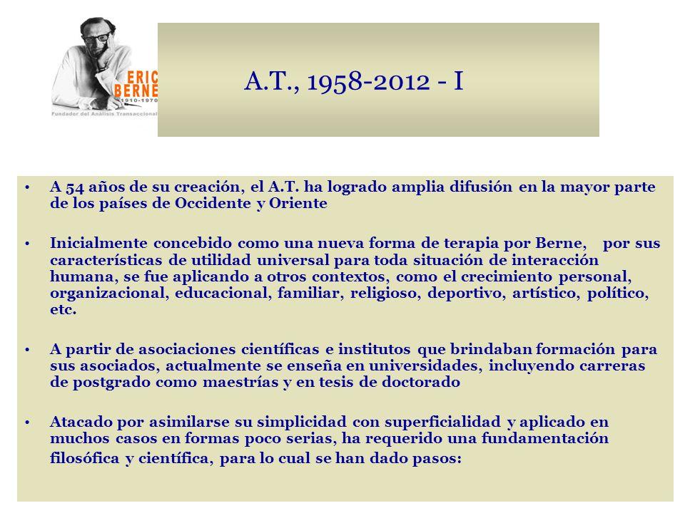 A.T., 1958-2012 - I A 54 años de su creación, el A.T. ha logrado amplia difusión en la mayor parte de los países de Occidente y Oriente Inicialmente c
