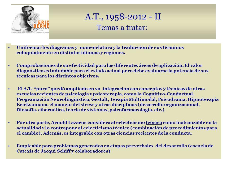 A.T., 1958-2012 - II Temas a tratar: Uniformar los diagramas y nomenclatura y la traducción de sus términos coloquialmente en distintos idiomas y regiones.
