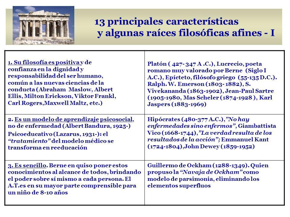 13 principales características y algunas raíces filosóficas afines - I 1.