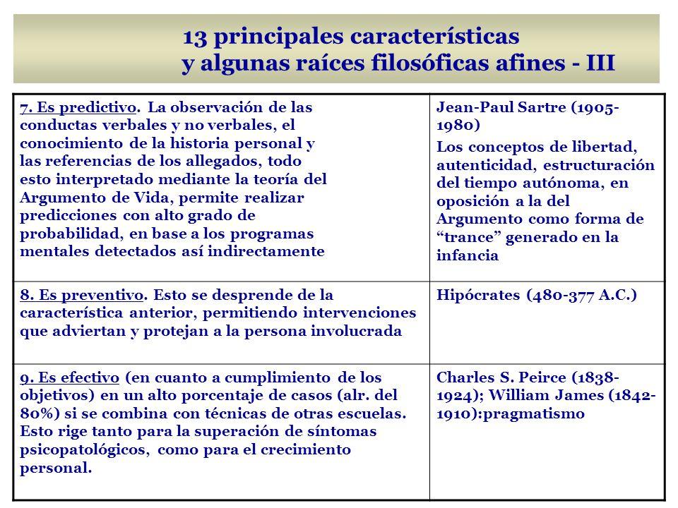 13 principales características y algunas raíces filosóficas afines - III 7.
