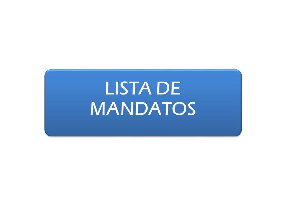LISTA DE MANDATOS