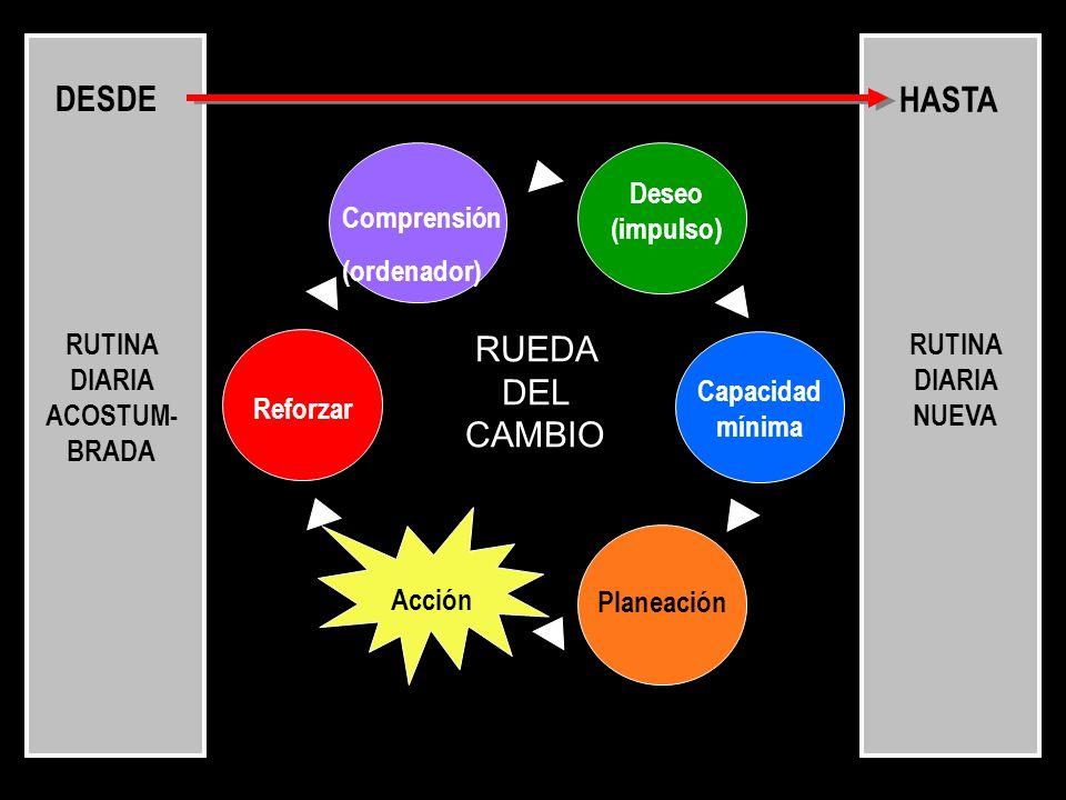 Comprensión (ordenador) Deseo (impulso) Reforzar Capacidad mínima Planeación Acción DESDE HASTA RUEDA DEL CAMBIO RUTINA DIARIA ACOSTUM- BRADA RUTINA D