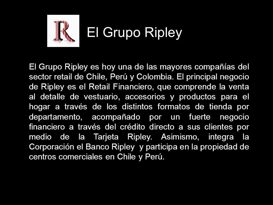 El Grupo Ripley El Grupo Ripley es hoy una de las mayores compañías del sector retail de Chile, Perú y Colombia. El principal negocio de Ripley es el