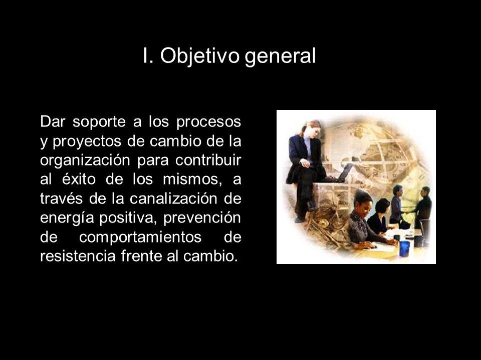 I. Objetivo general Dar soporte a los procesos y proyectos de cambio de la organización para contribuir al éxito de los mismos, a través de la canaliz