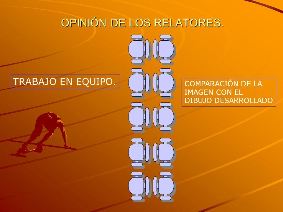 OPINIÓN DE LOS RELATORES. TRABAJO EN EQUIPO. COMPARACIÓN DE LA IMAGEN CON EL DIBUJO DESARROLLADO