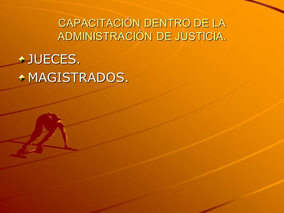 CAPACITACIÓN DENTRO DE LA ADMINISTRACIÓN DE JUSTICIA. JUECES.MAGISTRADOS.