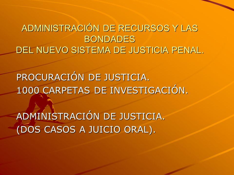 ADMINISTRACIÓN DE RECURSOS Y LAS BONDADES DEL NUEVO SISTEMA DE JUSTICIA PENAL. PROCURACIÓN DE JUSTICIA. 1000 CARPETAS DE INVESTIGACIÓN. ADMINISTRACIÓN