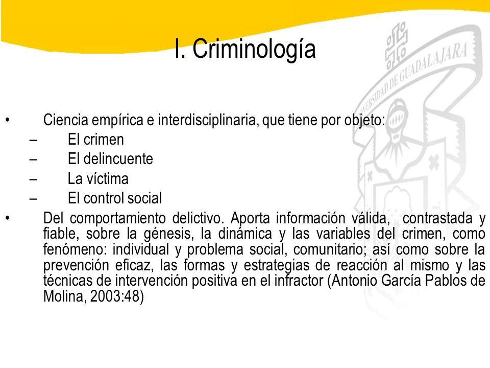 Seminario de Psicología Jurídica I. Criminología Ciencia empírica e interdisciplinaria, que tiene por objeto: –El crimen –El delincuente –La víctima –