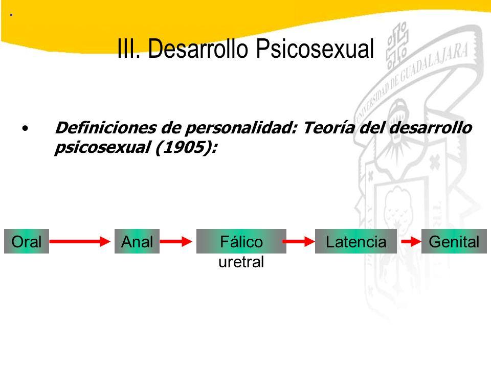 Seminario de Psicología Jurídica III. Desarrollo Psicosexual. Oral Definiciones de personalidad: Teoría del desarrollo psicosexual (1905): AnalFálico