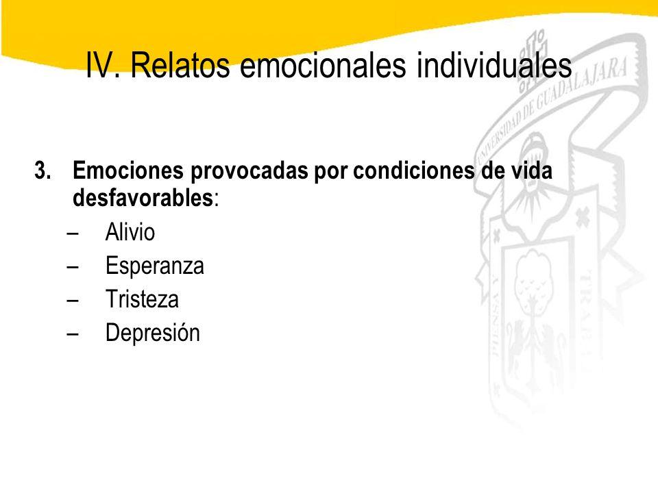 Seminario de Psicología Jurídica IV. Relatos emocionales individuales 3.Emociones provocadas por condiciones de vida desfavorables : –Alivio –Esperanz