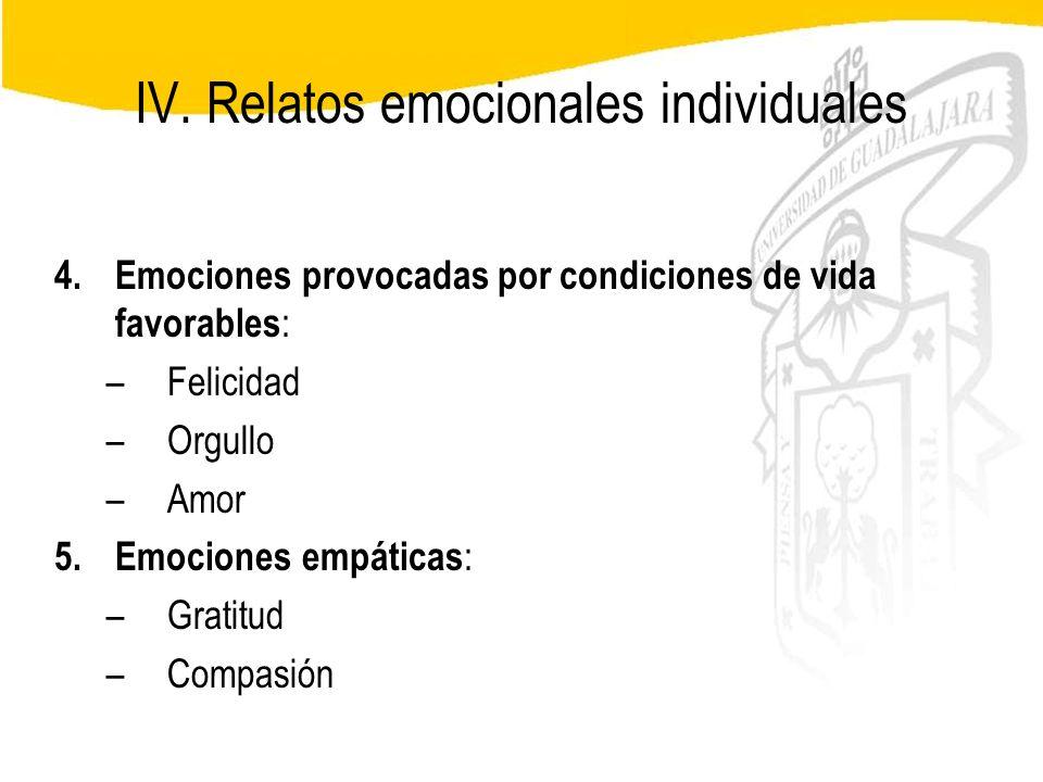 Seminario de Psicología Jurídica IV. Relatos emocionales individuales 4.Emociones provocadas por condiciones de vida favorables : –Felicidad –Orgullo
