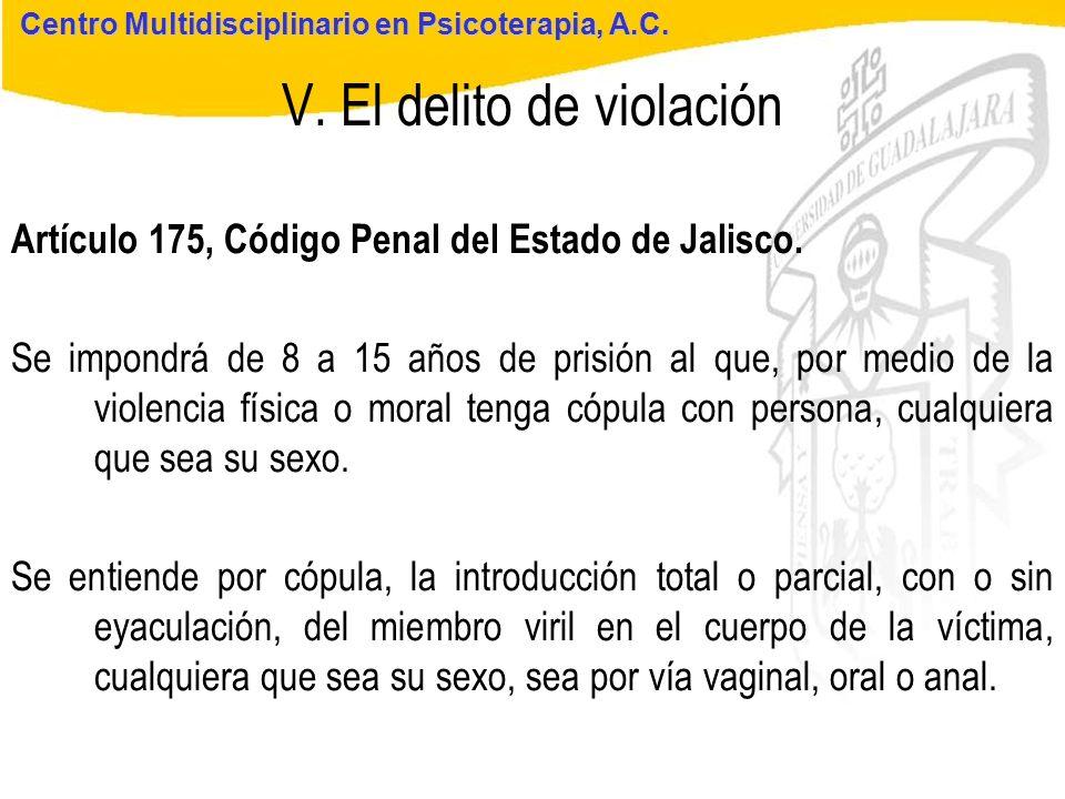 Seminario de Psicología Jurídica V. El delito de violación Centro Multidisciplinario en Psicoterapia, A.C. Artículo 175, Código Penal del Estado de Ja