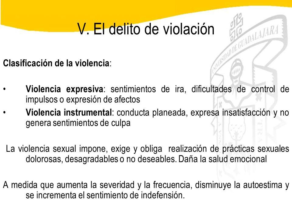Seminario de Psicología Jurídica V. El delito de violación Clasificación de la violencia : Violencia expresiva : sentimientos de ira, dificultades de