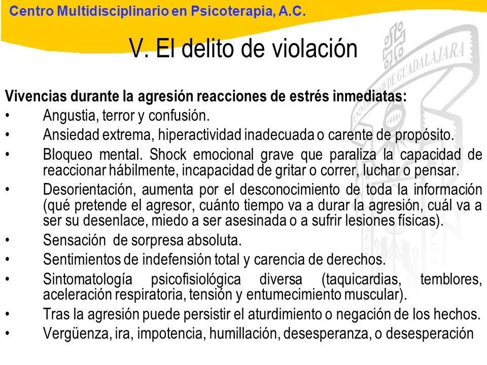 Seminario de Psicología Jurídica V. El delito de violación Centro Multidisciplinario en Psicoterapia, A.C. Vivencias durante la agresión reacciones de