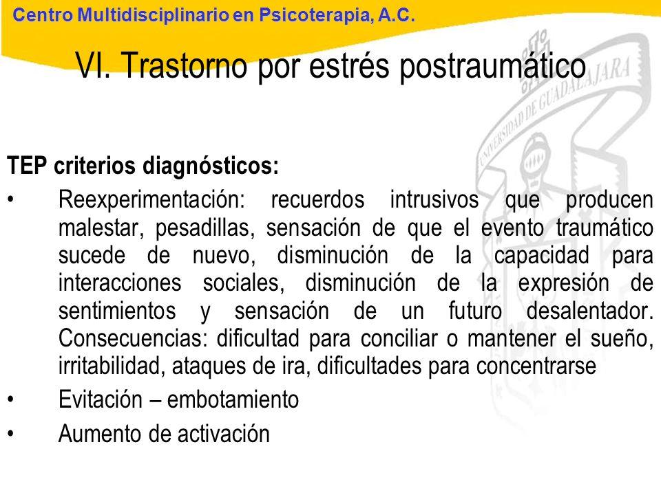 Seminario de Psicología Jurídica VI. Trastorno por estrés postraumático Centro Multidisciplinario en Psicoterapia, A.C. TEP criterios diagnósticos: Re