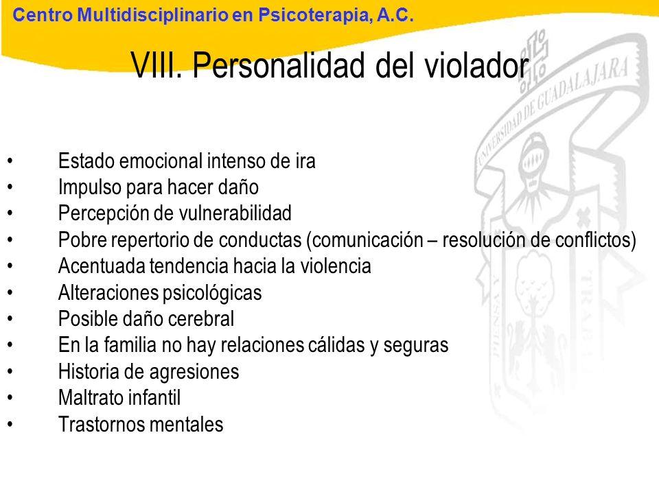 Seminario de Psicología Jurídica VIII. Personalidad del violador Centro Multidisciplinario en Psicoterapia, A.C. Estado emocional intenso de ira Impul