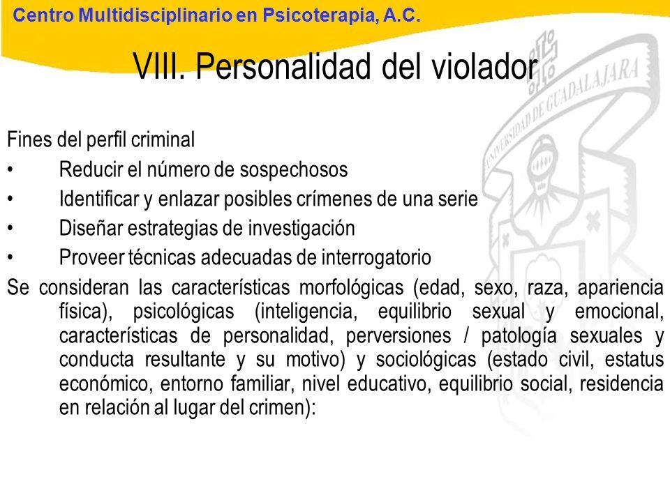 Seminario de Psicología Jurídica VIII. Personalidad del violador Centro Multidisciplinario en Psicoterapia, A.C. Fines del perfil criminal Reducir el