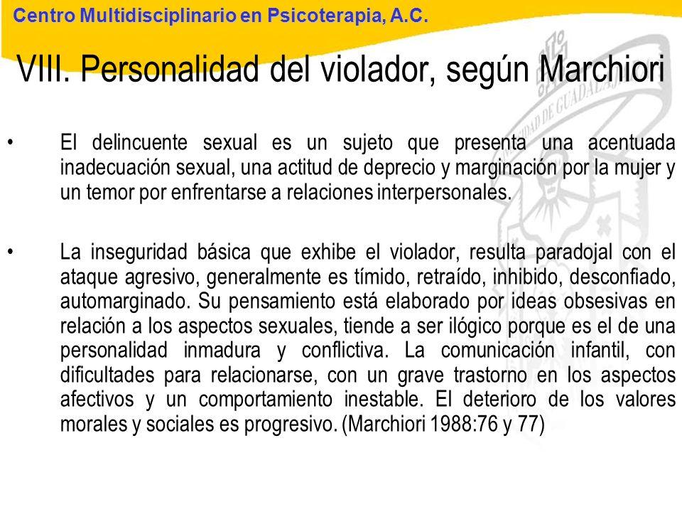 Seminario de Psicología Jurídica VIII. Personalidad del violador, según Marchiori Centro Multidisciplinario en Psicoterapia, A.C. El delincuente sexua